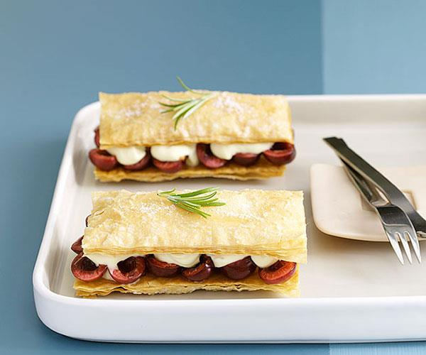 """[**Cherry napoleons with rosemary-scented crème fraîche**](https://www.gourmettraveller.com.au/recipes/fast-recipes/cherry-napoleons-with-rosemary-scented-creme-fraiche-9390