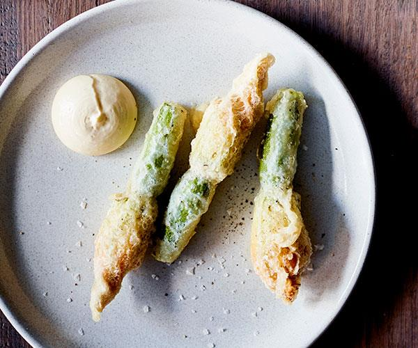 "**[Osteria Ilaria's zucchini flowers stuffed with almond purée and aïoli](https://www.gourmettraveller.com.au/recipes/chefs-recipes/zucchini-flowers-stuffed-with-almond-puree-and-aioli-8629|target=""_blank"")**"