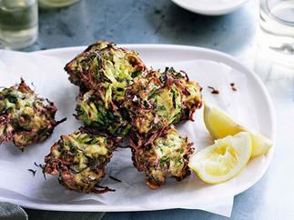 Zucchini and dill fritters with whipped feta