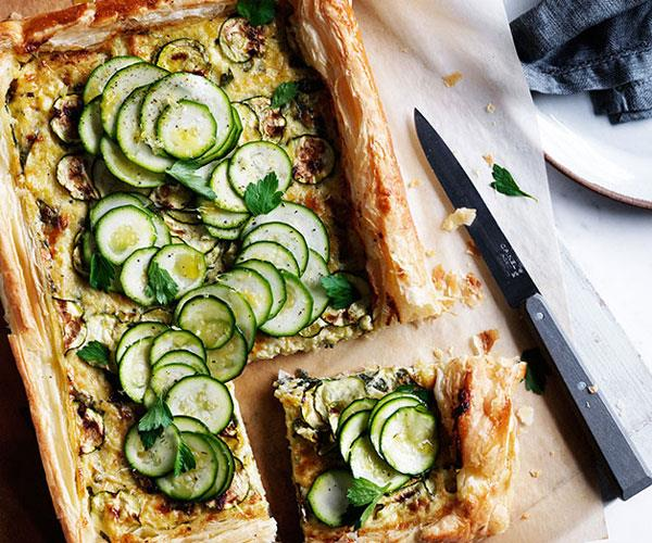 "[**Zucchini and gruyère galette**](https://www.gourmettraveller.com.au/recipes/browse-all/zucchini-and-gruyere-galette-12083|target=""_blank"")"