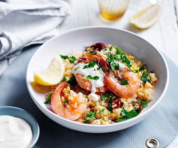 "**[Spanish saffron rice with chorizo and prawns](https://www.gourmettraveller.com.au/recipes/fast-recipes/spanish-saffron-rice-with-chorizo-and-prawns-13700|target=""_blank"")**"