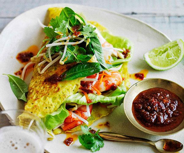 "**[Banh Xeo with Prawns and Pickled Carrot](https://www.gourmettraveller.com.au/recipes/browse-all/banh-xeo-with-prawns-and-pickled-carrot-11664|target=""_blank"")**"