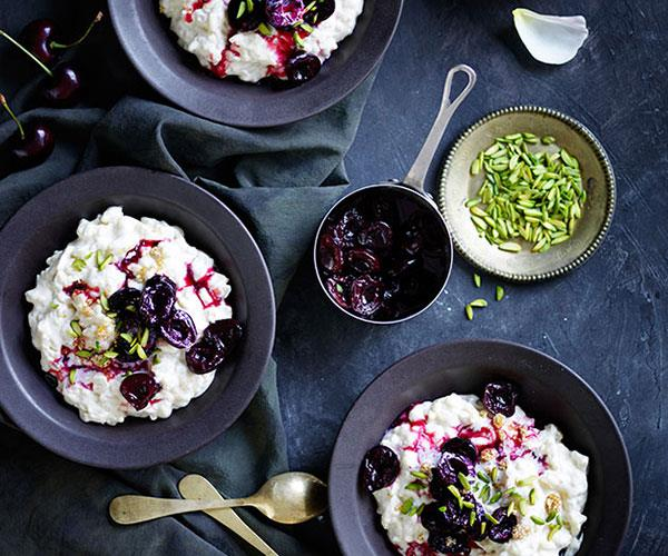 """**[Chilled rice pudding with roasted cherries and pistachio](https://www.gourmettraveller.com.au/recipes/browse-all/chilled-rice-pudding-with-roasted-cherries-and-pistachio-12399