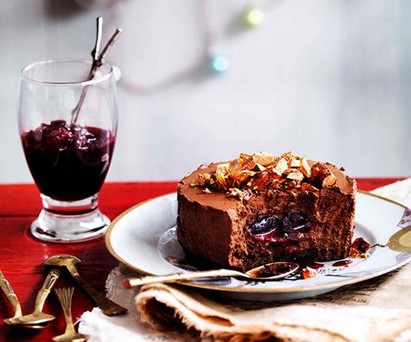 """**[Chocolate shortbread and truffle cakes with sour cherry jam](https://www.gourmettraveller.com.au/recipes/browse-all/chocolate-shortbread-and-truffle-cakes-with-sour-cherry-jam-10889