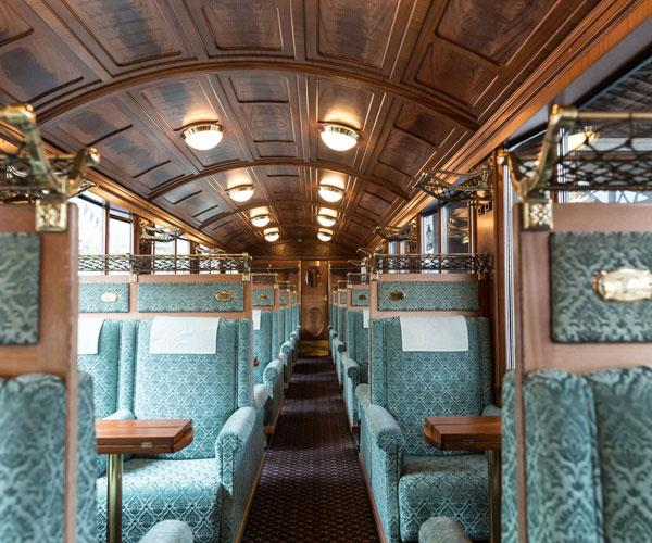Inside the Belle Epoque train.