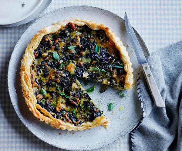 "**[Silverbeet and Gruyère tart](https://www.gourmettraveller.com.au/recipes/fast-recipes/silverbeet-and-gruyere-tart-13605|target=""_blank"")**"