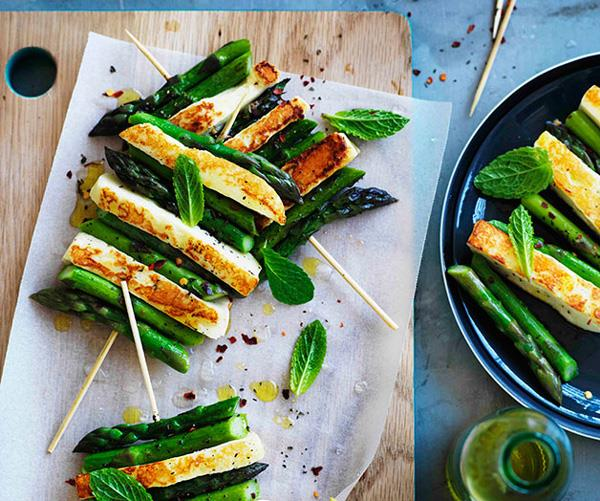 "**[Char-grilled asparagus and haloumi with mint and lemon](https://www.gourmettraveller.com.au/recipes/browse-all/char-grilled-asparagus-and-haloumi-with-mint-and-lemon-11121|target=""_blank"")**"