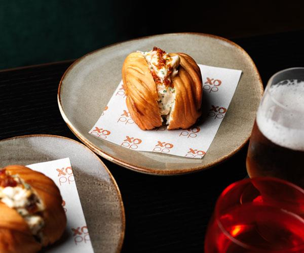 Prawn mantou roll with XO mayonnaise and sauce.