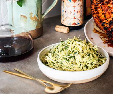 """**[Fleet's cabbage and kale slaw with roasted yeast dressing](https://www.gourmettraveller.com.au/recipes/chefs-recipes/cabbage-kale-slaw-yeast-dressing-16867