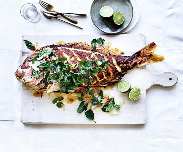"**[Barbecued lemongrass snapper with pomelo and herb salad](https://www.gourmettraveller.com.au/recipes/browse-all/barbecued-lemongrass-snapper-with-pomelo-and-herb-salad-12943|target=""_blank"")**"