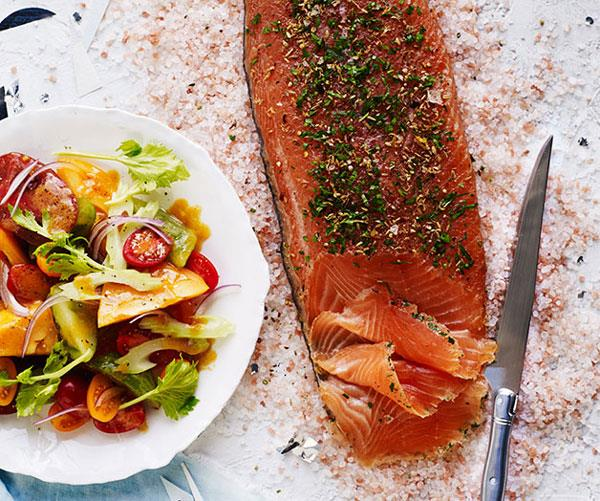 "**[Cured salmon with Bloody Mary salad](http://www.gourmettraveller.com.au/recipes/browse-all/cured-salmon-with-bloody-mary-salad-12406|target=""_blank"")**"