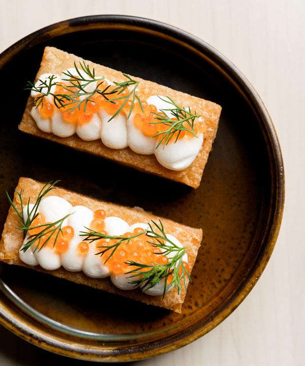 Hash brown with tarama and trout roe.