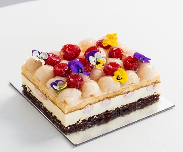 Raspberry lychee cake.