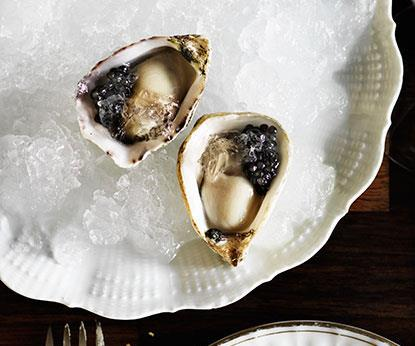 "**[Curtis Stone's oysters with Champagne and caviar](https://www.gourmettraveller.com.au/recipes/chefs-recipes/oysters-with-champagne-and-caviar-8314|target=""_blank"")**"
