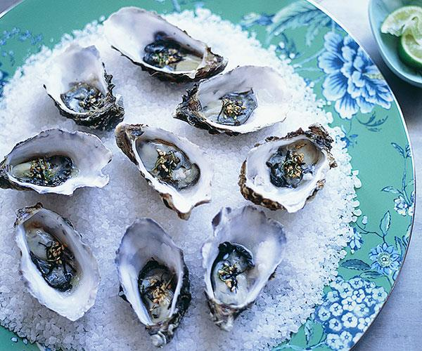 "[**Oysters with wasabi nori and lime dressing**](https://www.gourmettraveller.com.au/recipes/browse-all/oysters-with-wasabi-nori-and-lime-dressing-9943|target=""_blank"")"