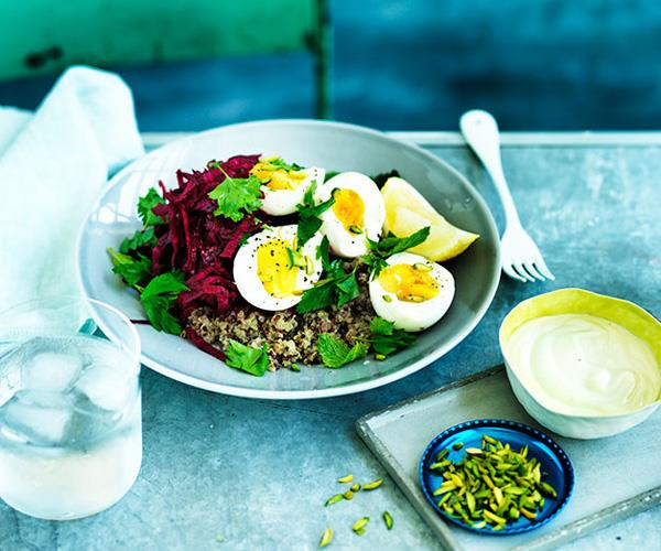 "**[Quinoa pilaf with beetroot, egg and tahini yoghurt](http://www.gourmettraveller.com.au/recipes/fast-recipes/quinoa-pilaf-with-beetroot-egg-and-tahini-yoghurt-13682|target=""_blank"")**"