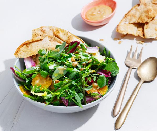 "**[Cress salad with ginger-date dressing](https://www.gourmettraveller.com.au/recipes/fast-recipes/cress-salad-16860|target=""_blank"")**"