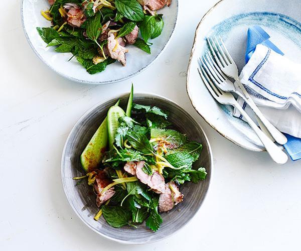"**[Thai grilled pork salad with green mango](https://www.gourmettraveller.com.au/recipes/fast-recipes/thai-grilled-pork-salad-with-green-mango-13436|target=""_blank"")**"