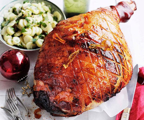 "[**Orange-glazed ham with potato and parsley salad**](https://www.gourmettraveller.com.au/recipes/browse-all/orange-glazed-ham-with-potato-and-parsley-salad-10916|target=""_blank"")"