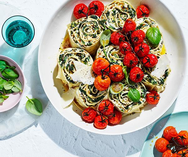"**[Spinach and ricotta rotolo](https://www.gourmettraveller.com.au/recipes/browse-all/spinach-ricotta-rotolo-18036|target=""_blank"")**"