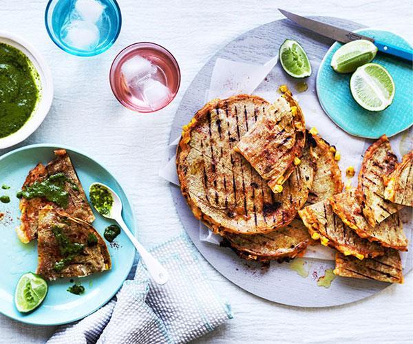 "**[Corn and potato quesadillas with green salsa](https://www.gourmettraveller.com.au/recipes/fast-recipes/corn-and-potato-quesadillas-with-green-salsa-13875|target=""_blank"")**"