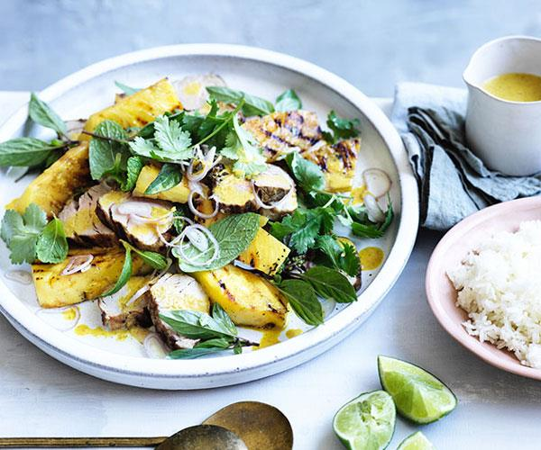 """**[Grilled pork with pineapple and curry vinaigrette](https://www.gourmettraveller.com.au/recipes/fast-recipes/grilled-pork-with-pineapple-and-curry-vinaigrette-13879