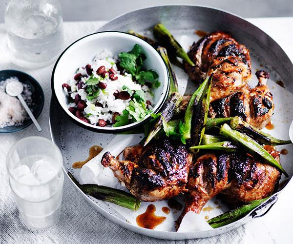 """[**Barbecued chicken with blackened okra**](https://www.gourmettraveller.com.au/recipes/fast-recipes/barbecued-chicken-with-blackened-okra-13676