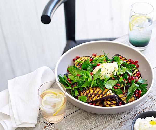 """[**Barbecued eggplant salad with goat's curd, mint and pomegranate**](https://www.gourmettraveller.com.au/recipes/chefs-recipes/barbecued-eggplant-salad-with-goats-curd-mint-and-pomegranate-9160