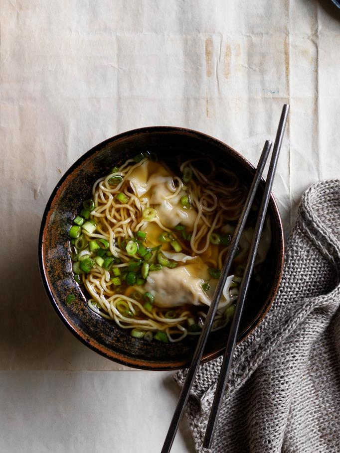 "**[Noodle soup with chicken and chive dumplings](https://www.gourmettraveller.com.au/recipes/browse-all/chicken-dumpling-soup-17594|target=""_blank"")**  **Recipe:** Lisa Featherby **Styling:** Geraldine Muñoz **Photography:** Ben Dearnley **Magazine issue:** July 2019"