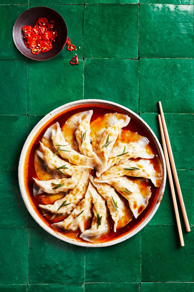 "**[Prawn dumplings with organic tamari and chilli dressing](https://www.gourmettraveller.com.au/news/food-and-culture/yum-cha-dishes-17752|target=""_blank"")**   **Recipe:** Kylie Kwong  **Styling:** Lisa Featherby **Photography:** Alicia Taylor **Magazine issue:** August 2019"