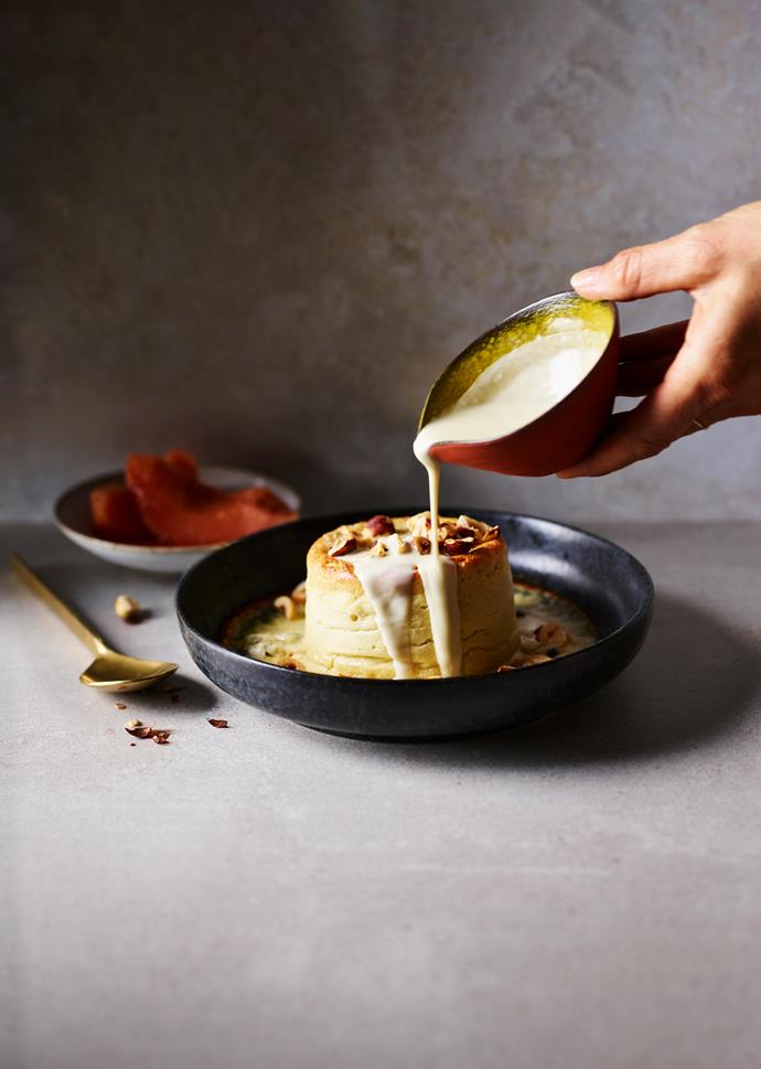 "**[Twice-baked Roquefort soufflé with poached quince](https://www.gourmettraveller.com.au/recipes/chefs-recipes/roquefort-souffle-17412|target=""_blank"")**  **Recipe:** Daniel Paton **Styling:** Lisa Featherby **Photography:** Alicia Taylor **Magazine issue:** June 2019"