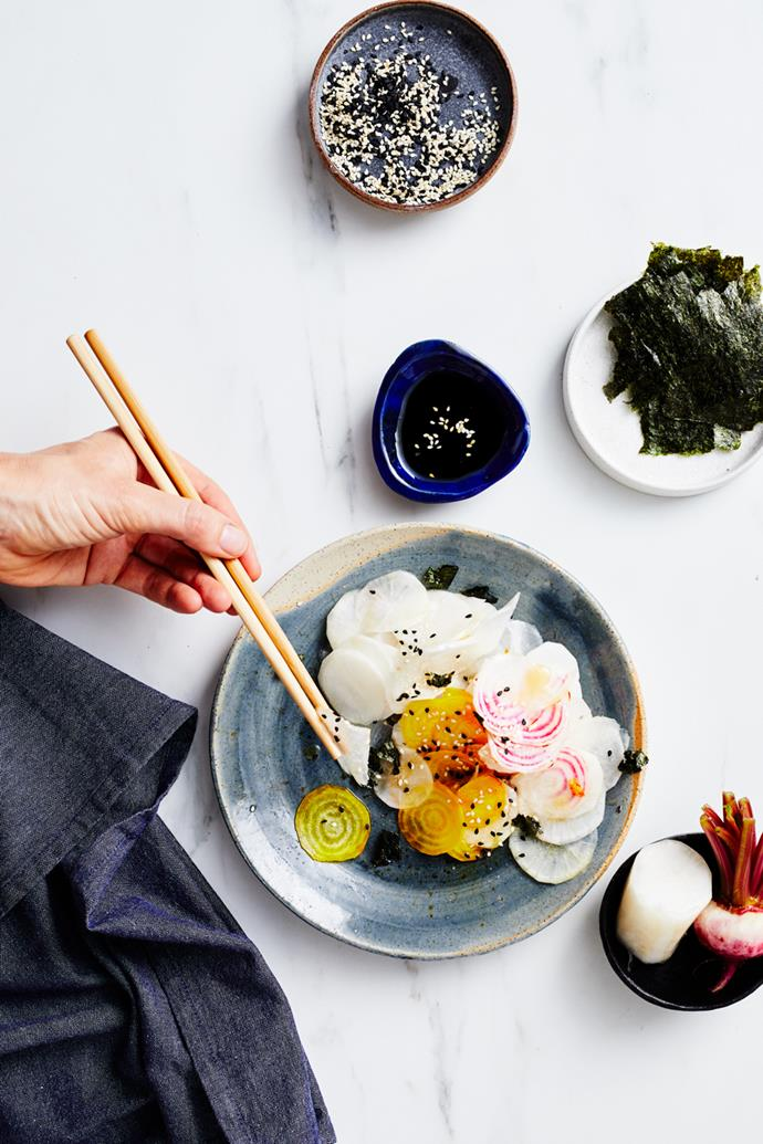 "**[Japanese pickles](https://www.gourmettraveller.com.au/recipes/explainers/japanese-pickles-recipe-17466|target=""_blank"")**  **Recipe:** Adam James **Styling:** Lynsey Fryers **Photography:** Alicia Taylor **Magazine issue:** June 2019"