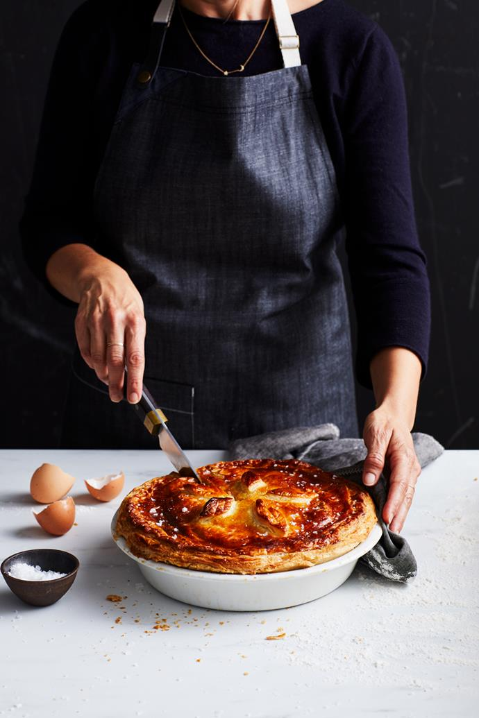 "**[Bourke Street Bakery's meat pie](https://www.gourmettraveller.com.au/recipes/explainers/meat-pie-17434|target=""_blank"")**  **Recipe:** Paul Allam & David McGuiness  **Styling:** Geraldine Muñoz **Photography:** Alicia Taylor **Magazine issue:** June 2019"