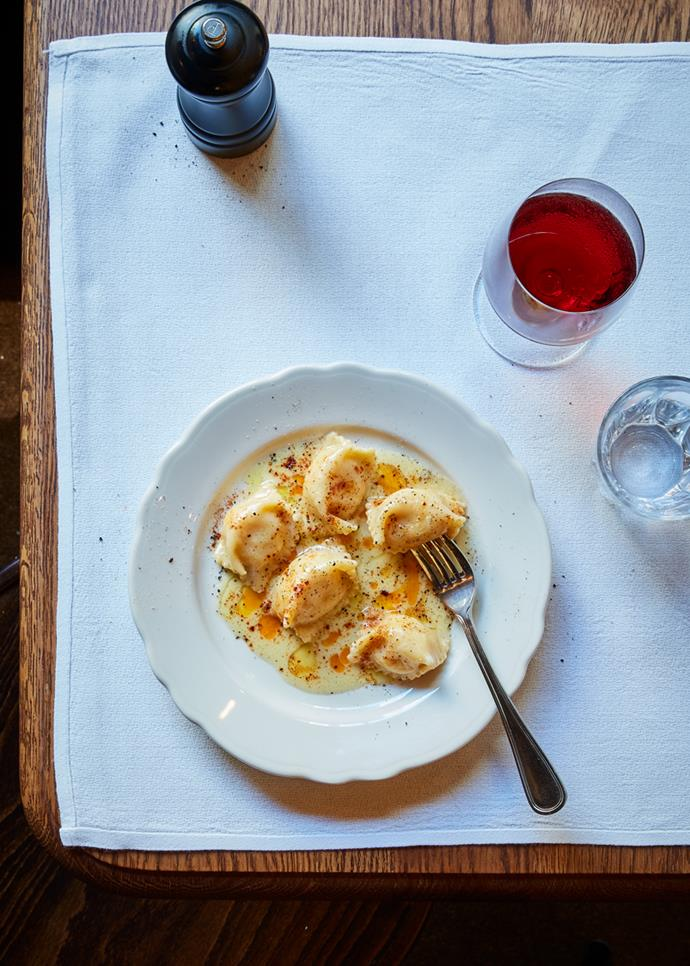 "**[Ricotta agnolotti with anchovy butter](https://www.gourmettraveller.com.au/recipes/chefs-recipes/ricotta-agnolotti-17270|target=""_blank"")**  **Recipe:** Daniel Pepperell **Styling:** Lisa Featherby **Photography:** Will Horner **Magazine issue:** May 2019"
