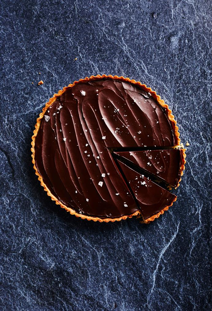 "**[Salted caramel and chocolate ganache tart](https://www.gourmettraveller.com.au/recipes/chefs-recipes/salted-caramel-chocolate-ganache-tart-17342|target=""_blank"")**  **Recipe:** Guillaume Brahimi **Styling:** Lisa Featherby **Photography:** Alicia Taylor **Magazine issue:** April 2019"