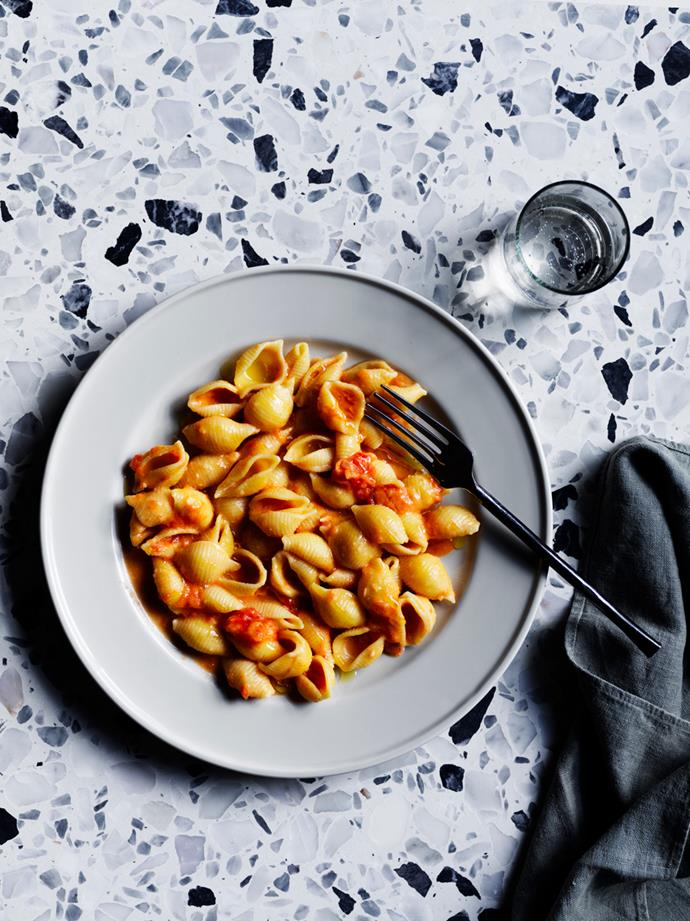 "**[Conchiglie with vodka sauce](https://www.gourmettraveller.com.au/recipes/chefs-recipes/pasta-vodka-sauce-17025|target=""_blank"")**   **Recipe:** Casey Wall **Styling:** Geraldine Muñoz **Photography:** Ben Dearnley **Magazine issue:** March 2019"