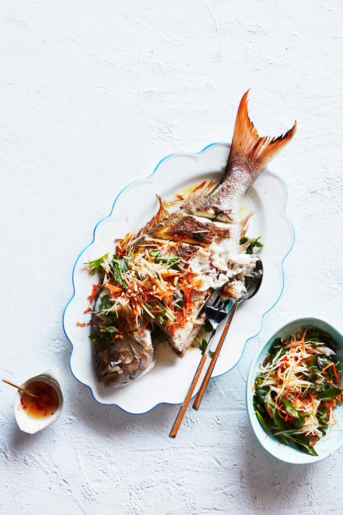 "**[Whole barbecued snapper with green papaya salad](https://www.gourmettraveller.com.au/recipes/chefs-recipes/barbecued-whole-snapper-recipe-16872|target=""_blank"")**   **Recipe:** Amy Hamilton **Styling:** Kerrie-Ann Jones **Photography:** Chris Chen **Magazine issue:** December 2018 / January 2019"