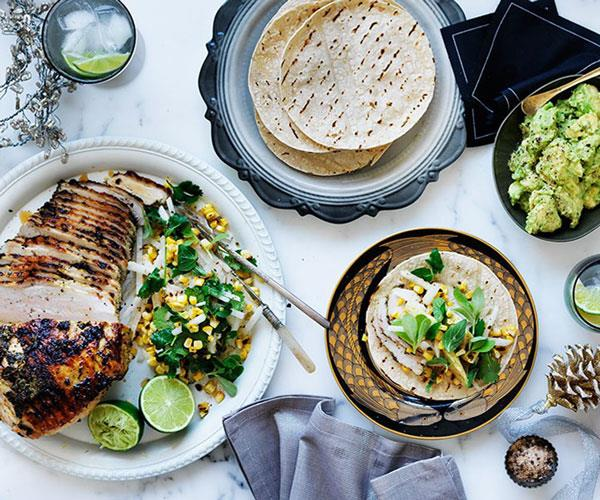 "[**Barbecued turkey with corn and jicama salad**](https://www.gourmettraveller.com.au/recipes/browse-all/barbecued-turkey-with-corn-and-jicama-salad-11839|target=""_blank"")"