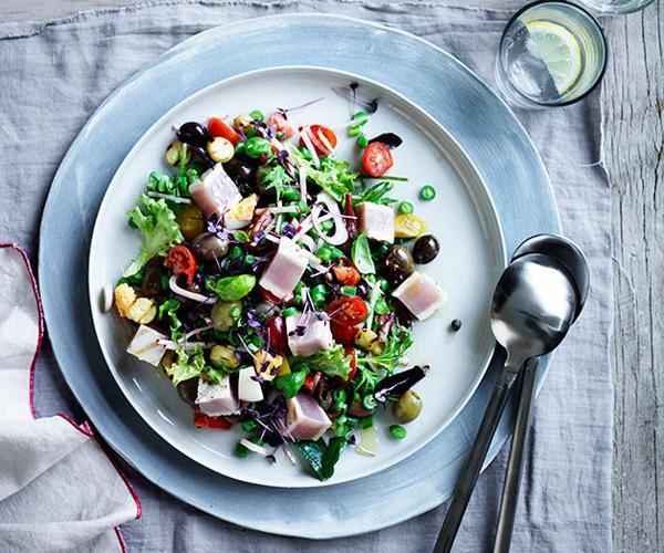 "**[Niçoise salad with albacore tuna](https://www.gourmettraveller.com.au/recipes/chefs-recipes/nicoise-salad-with-albacore-tuna-9238 target=""_blank"")**"