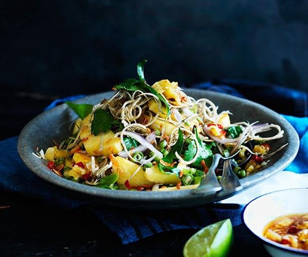 "**[Banana-blossom salad with pineapple-chilli dressing](https://www.gourmettraveller.com.au/recipes/browse-all/banana-blossom-salad-with-pineapple-chilli-dressing-12193|target=""_blank"")**"
