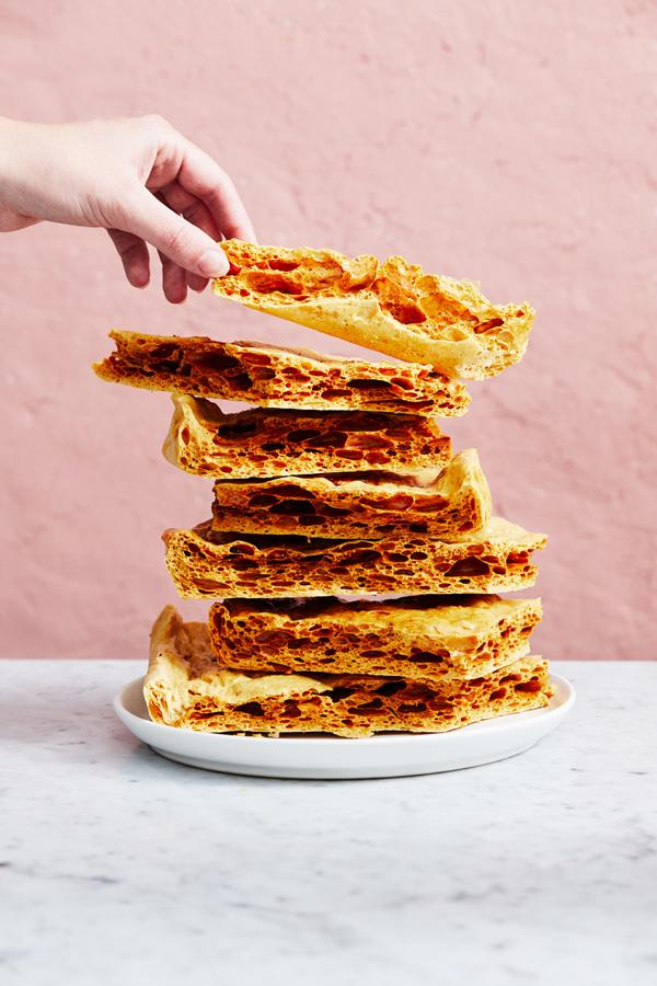 "**[Honeycomb](https://www.gourmettraveller.com.au/recipes/explainers/honeycomb-18086|target=""_blank"")**  **Recipe:** Tahlia Collins **Styling:** Melissa Martin **Photography:** Alicia Taylor  **Magazine issue:** November 2019"