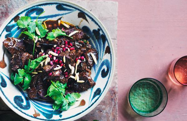 Slow-cooked spiced lamb with prunes