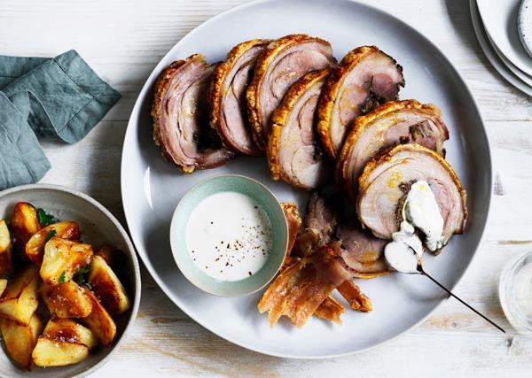 Roast pork shoulder with ajo blanco