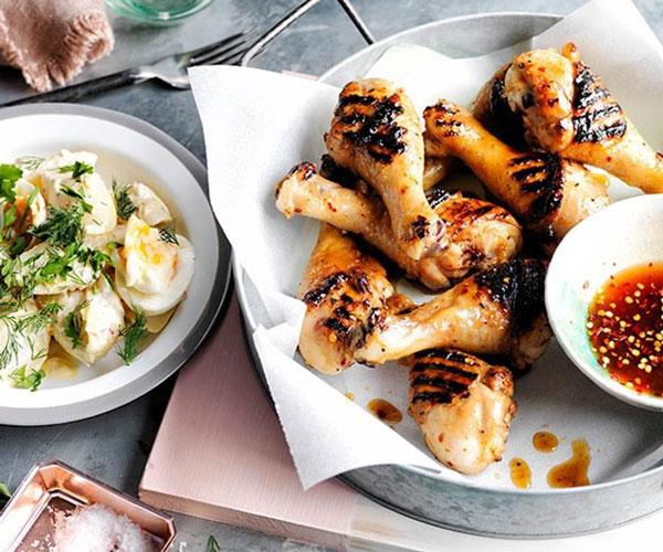 "**[Southern barbecue chicken drumsticks with mop sauce and potato salad](https://www.gourmettraveller.com.au/recipes/browse-all/southern-barbecue-chicken-drumsticks-with-mop-sauce-and-potato-salad-12159|target=""_blank"")**"