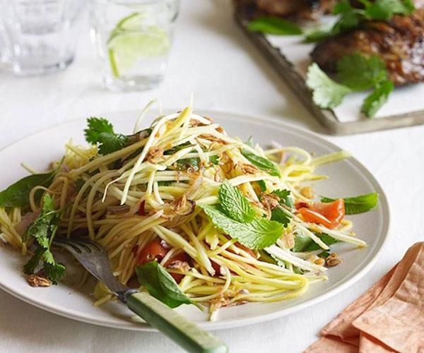 "**[Barbecued lemongrass chicken with green mango salad](https://www.gourmettraveller.com.au/recipes/browse-all/barbecued-lemongrass-chicken-with-green-mango-salad-11850|target=""_blank"")**"