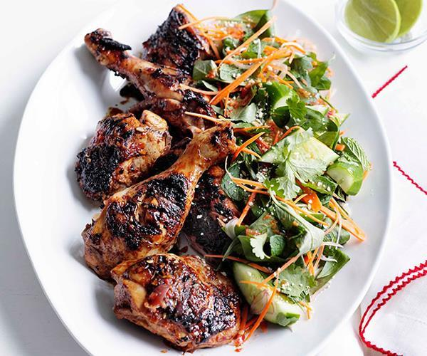 "**[Grilled chicken with cucumber, carrot and Asian herb salad](https://www.gourmettraveller.com.au/recipes/fast-recipes/grilled-chicken-with-cucumber-carrot-and-asian-herb-salad-13203|target=""_blank"")**"