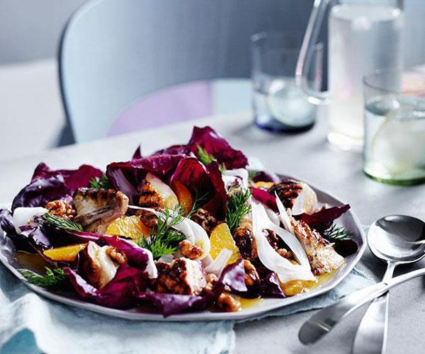 "**[Grilled chicken with radicchio, fennel and walnuts](https://www.gourmettraveller.com.au/recipes/chefs-recipes/grilled-chicken-with-radicchio-fennel-and-walnuts-9242|target=""_blank"")**"