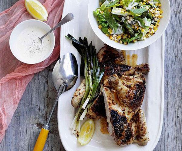 "**[Char-grilled chicken with corn salad and buttermilk dressing](https://www.gourmettraveller.com.au/recipes/browse-all/char-grilled-chicken-with-corn-salad-and-buttermilk-dressing-10872|target=""_blank"")**"