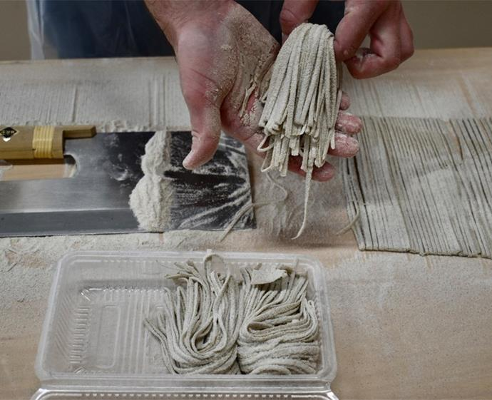 Noodle-making at Nishiyamada Farm. *Photo: Marc Webster*