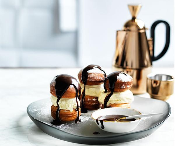 "**[Ice-cream beignet sandwiches with chocolate sauce](https://www.gourmettraveller.com.au/recipes/browse-all/ice-cream-beignet-sandwiches-with-chocolate-sauce-12478|target=""_blank"")**"